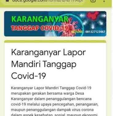 Deteksi Dini Covid-19 Desa Karanyanyar Lakukan Lapor Mandiri Online
